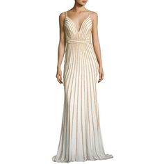 Jovani Sleeveless Beaded Evening Gown ($540) ❤ liked on Polyvore featuring dresses, gowns, sleeveless dress, white dress, beaded evening gowns, beaded evening dresses and jovani evening dresses