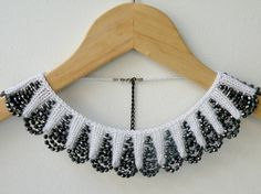 Items similar to Hand Knit White Necklace Collar with Black Glass Beaded on Etsy Always wanted to learn to knit, nonetheless undecided where do you start? That Overall Beginner Knitting Series is exact. Knitted Necklace, White Necklace, Collar Necklace, Crochet Collar, Lace Collar, Tatting Patterns, Beading Patterns, Motifs Perler, Egyptian Jewelry