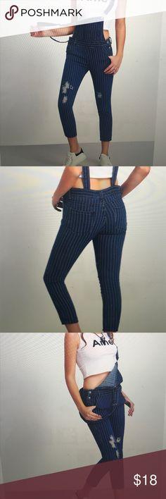 Straps Vertical Striped Ripped Denim Jumpsuit Overalls. Length: 135 cm. Thigh: 54cm. Hip size: 94cm. Waist size: 74cm. Pants Jumpsuits & Rompers