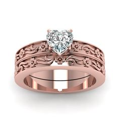 Handmade Jewelry with White Diamond in 14K Rose Gold    Engraved Heart Shaped Wedding Set   