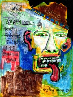 "NEZ PEEK Original Signed Drawing ""RADIO TUBES OF THE MIND"" outsider ABSTRACT ART #Expressionism"