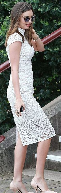 Miranda Kerr�s white short sleeve lace dress, nude pumps, and brown cat sunglasses- Via ~LadyLuxury~