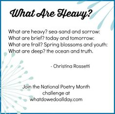 Join the Poetry Challenge for kids and families for National Poetry Month. This week enjoy 2 poems by Christina Rossetti that you can read and learn together. Nice Poetry, Poetry For Kids, April Poems, Christina Rossetti, National Poetry Month, Kids Poems, Insightful Quotes, Short Poems, Reading Rainbow