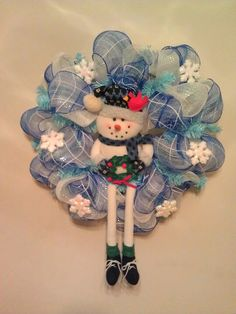 Snowman deco mesh wreath 2013