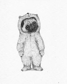 Winter pug Art Print