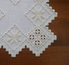 This beautiful quality piece was created on cream fabric with complimentary ecru colored DMC perle cotton. It measueres approximately 12 x 12 across and is han Types Of Embroidery, Learn Embroidery, Embroidery For Beginners, Embroidery Techniques, Hardanger Embroidery, Embroidery Stitches, Embroidery Patterns, Hand Embroidery, Sunbonnet Sue