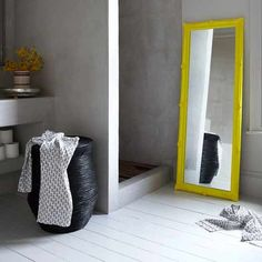 Inspiration from Bathrooms.com: So you can see we love shower rooms with concrete and muted colour schemes, but this injection of fizzy lemon into the room gives it an unbeatable lift. #bathrooms #shower rooms #wet rooms #ensuite #vintage style #industrial style #loft living