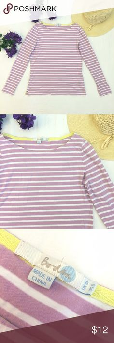 """Boden Striped Longsleeve Tee This purple and white longsleeve tee from Boden is soft and cozy. 100% cotton. It is in good used condition for more wash wear than usual. Please see close ups. Otherwise, it is in good shape. Measurements from laying flat: chest is 17.25"""" from underarm to underarm, 23"""" long and 15.75"""" waist. Boden Tops Tees - Long Sleeve"""