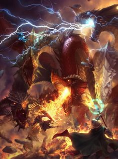 Five headed chromatic dragon Lie setiawan ArtStation Dnd Dragons, Dungeons And Dragons, Yugioh Dragons, World Of Fantasy, Dark Fantasy, Fantasy Artwork, Warhammer 40000, Fantasy Creatures, Mythical Creatures