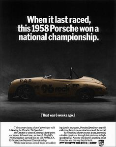1988 era Porsche ad with 1958 car - www.drive.co.uk/porsche