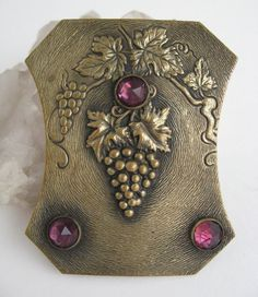 Antique Victorian Grapes Sash Pin Brass Jeweled Brooch Grapevine Grapes c1910