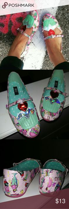 """Iron Fist cupcake flats - """"death's diner"""" - cute holographic t-strap flats, worn no more than 3x Iron Fist Shoes Flats & Loafers"""
