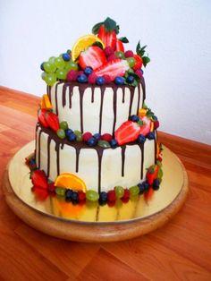 ovocna s ganache y bielej coko High Holidays, Recipe Organization, Fresh Fruit, Amazing Cakes, Baked Goods, Wedding Cakes, Birthdays, Cooking Recipes, Birthday Cake