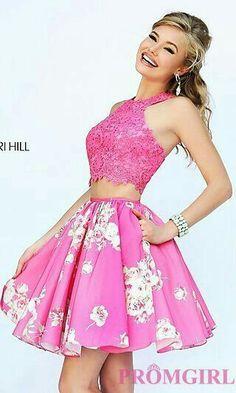 36d3c49a18e Two Piece Pink Lace   Floral Print Party Dress - Sherri Hill 32245 - New  2015 Dress