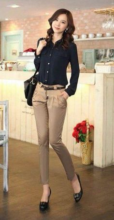 Womens Business Casual Long Sleeve Button Down Slim Shirts Blouse Tops AU Office Outfits Women, Office Fashion Women, Casual Work Outfits, Work Fashion, Classy Outfits, Fashion Outfits, Rock Outfits, Emo Outfits, Semi Formal Outfits