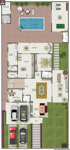 ideas house architecture contemporary garage for 2019 Layouts Casa, House Layouts, Home Design Plans, Plan Design, Modern House Plans, House Floor Plans, Barn Renovation, Floor Plan Layout, Sims House