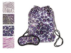 Perfect for a sleepover or a birthday gift! Sequined Girls Duffle/Backpack with Eye Mask in Cute Safari Colors.