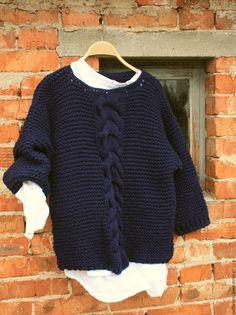 """Купить Свитер крупной вязки БОХО """"Темная ночь"""" - тёмно-синий, однотонный, свитер"""