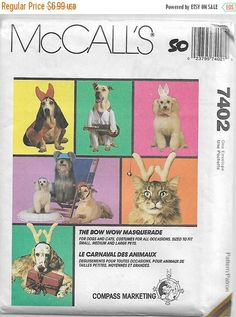 SALE Costumes For Cats And Dogs Pattern McCalls 7402 & 661