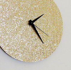 Unique Wall Clock, Gold Glitter Clock, Great Gatsby,   Home and Living, Decor & Housewares, Living Room Decor, Unique Gift