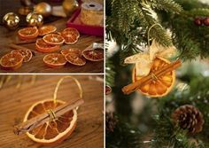 cinnamon stick and orange slice ornaments