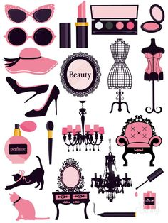 Pink in Fashion - Sticker Printable #sticker#printable#pink#black#glamour#women#beauty#diy#scrapbooktools#candycameraapp