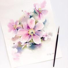 Autumn flowers... #watercolor #watercolour #aquarelle #art #artist #painting…