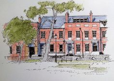 Park Square in Leeds City centre - sketch by John Edwards