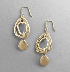 Hammered Gold Drop Earrings
