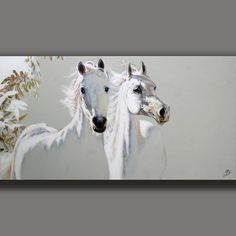 WEISSES PFERDE DUO - GEMÄLDE ORIGINAL UNIKAT - EQUINE - JOART Signiert Horse Drawings, Art Drawings, Sword Drawing, Horse Artwork, Watercolor Horse, Art Corner, Unicorn Art, Learn Art, White Horses