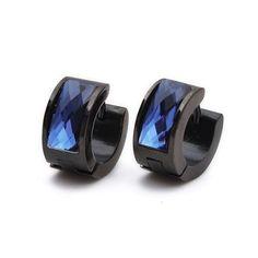 BESTSELLER! K Mega Jewelry Black & Blue Crystal Stainless Steel Stud Hoop Mens Earrings $8.49