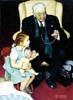 """Doctor And Doll,  Norman Rockwell--This reminds me so much of """"Papaw Doc"""", Dr. Josh Sutherland."""
