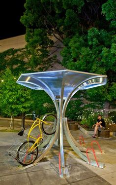BikeArc bicycle rack with bicycle by rllayman, via Flickr Bicycle Stand, Bicycle Rack, Vertical Bike Rack, Bike Shelter, Bicycle Storage, Bike Parking, Site Plans, Parking Design, Landscape Architecture