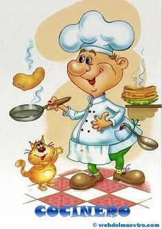 Good Morning Day Night Quotes Pics And Videos. Good Morning Day Night Quotes Pics And Videos Cartoon Chef, Cute Cartoon, Chef Pictures, Le Chef, Kitchen Art, Kitchen Living, Living Room, Recipe Cards, Cross Stitch Embroidery