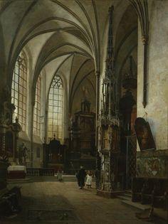 Vincent Stoltenberg Lerche (1837-1892): Interior of St Lambertus Church, 1863 (maybe in Dusseldorf)