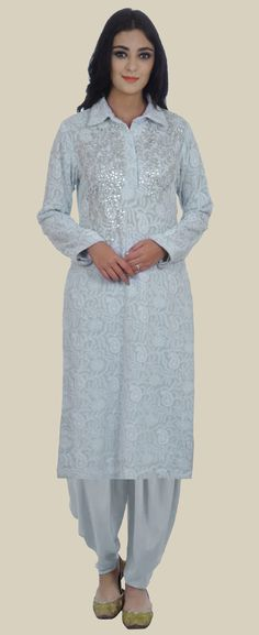 Powder Blue Chikankari and Gota Patti Hand Embroidered Kurta with Dhoti Salwar