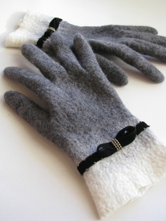 Felted grey gloves velvet embroidered decor merino wool black women arm warmer French style retro gloves white wristlet - Handmade to Order Grey Gloves, Wool Gloves, Lace Gloves, Knitted Gloves, Shibori, Safety Gloves, Creative Textiles, Fingerless Mittens, Vintage Accessories