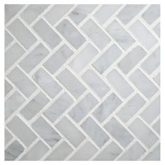 """Specifications:    MI# 065-S2-400-115    Color: White Carrara    Finish: Polished    Thickness: 3/8""""    Material: Marble    Format: Mesh Mounted    Size: Herringbone 1/2"""" x 1-1/4""""    Field Size: 1 Sq Ft"""