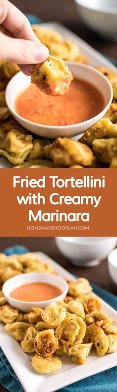 Fried Tortellini with Creamy Marinara! Change up your pasta routine by deep frying your tortellini with a delicate panko and parmesan breading. | HomemadeHooplah.com