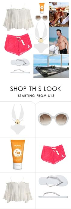 """""""Summer days with Chris. ♥"""" by annacastrolima ❤ liked on Polyvore featuring MOEVA, Gucci, Sundry, Sans Souci, Havaianas, Summer, summerdays, summerday and ChrisNoth"""