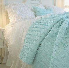 Shabby Cottage Chic Dreamy Mint Green Ruffles Rag Quilt with so much Vintage Charm for your Shabby Chic Home Cottage Living Beach House Linens Full Queen Quilt Cottage Chic, Romantic Cottage, Shabby Cottage, Aqua Quilt, Ruffle Quilt, Ruffle Bedding, White Bedding, Rag Quilt, Ruffle Blanket