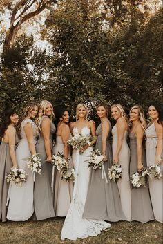 Mismatched Bridesmaid Dresses, Bridesmaid Dress Colors, Blue Bridesmaids, Wedding Bridesmaid Dresses, Bridesmaids With Different Dresses, Maid Of Honor Dress Different, Charcoal Bridesmaid Dresses, Patterned Bridesmaid Dresses, Wedding Party Dresses