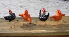 Chicken Sculptures Rhode Island Reds by RuthCreates - Chickens are needle felted by my own design with wire legs. Each hen stands about 3 inches tall (custom sizes available). The price listed is for a single hen. Contact me for multiples or customized flocks.  The color choices in the group shot are from left to right: Dark Gray, Light Gray, Red Orange, Brown, White, Mottled Orange