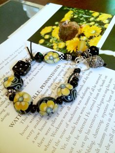 Bracelet artisan Lampwork  leather and Sterling by rickitic