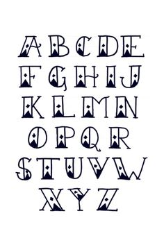 Sailor's Diamond Tattoo Font Alphabet - Print Art Print