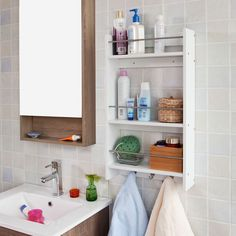 SoBuy Scaffale pensile da parete, mensola da bagno,Mensole portasciugamani,bianco, FRG33-W,IT