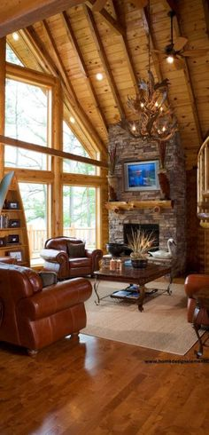 Jim Barna Log Home   Home Design Elements LLC