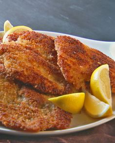 Chicken Milanese - marinate the chicken breasts in eggs for a long time to make them moist and tender