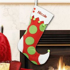 Embroidered Jester Wool Christmas Stocking   Jester Christmas Stocking  $29.98