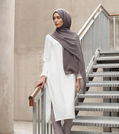 - Interchangeable ensembles; classic work wear attires to casual day wear picks. White Crepe Midi Dress Dove Grey Straight Leg Trousers Charcoal Modal Hijab www.inayah.co